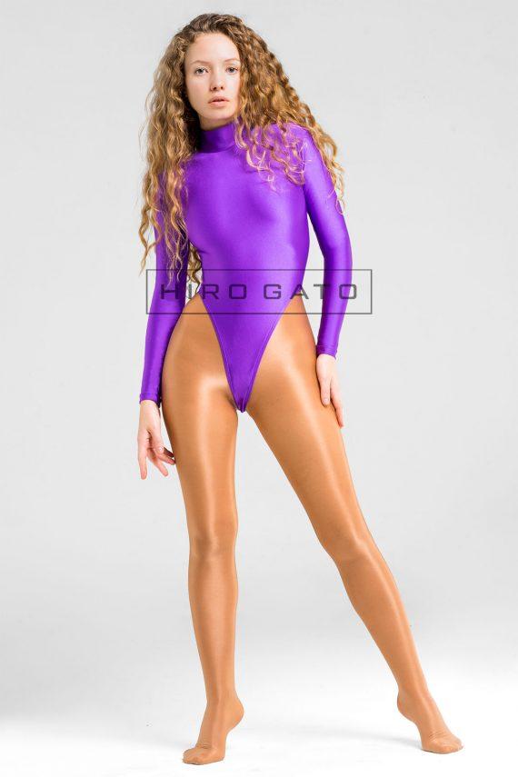 Lycra Gymnastikanzug Lila hoch geschnitten Shiny Spandex Body Ganzanzug Hauteng