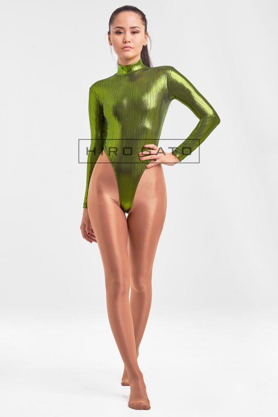 Lycra Gymnastikanzug Grün Body Hoch Geschnitten