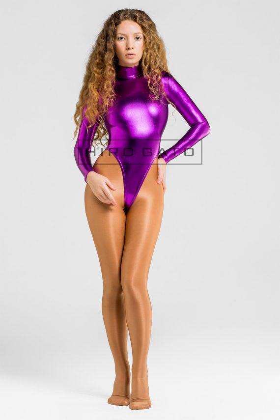 Shiny Metallic Spandex Lycra Gymnastikanzug Body Leotard Hoch Geschnitten Violett