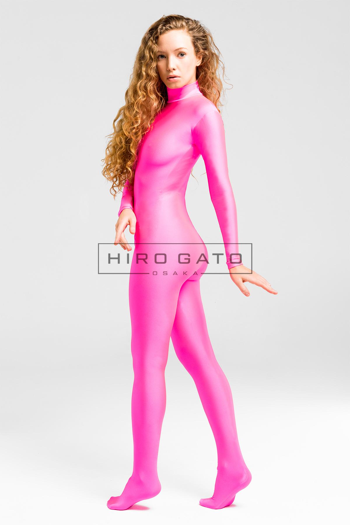 Zentai Catsuit Lycra Shiny Spandex Ganzanzug Hot Pink Ganzkörperanzug