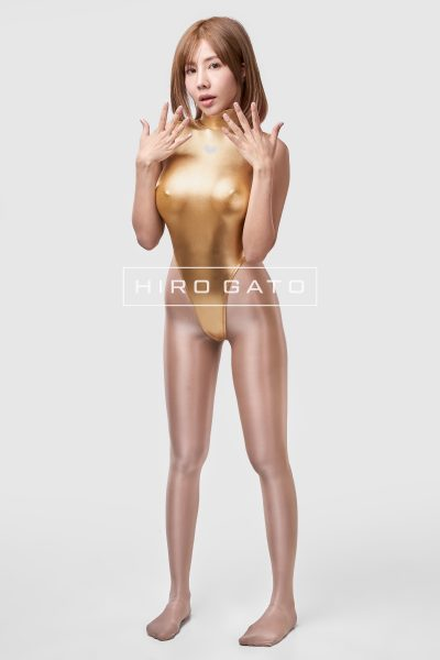 Shiny Metallic Spandex Leotard Gold