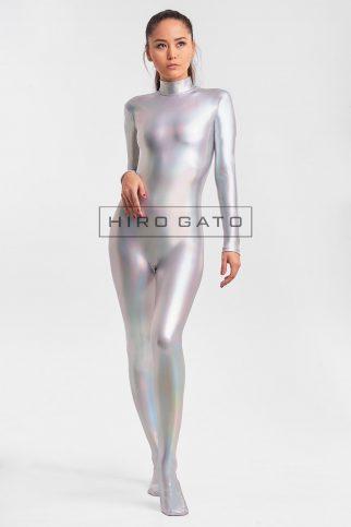 Shiny Hologramm Metallic Spandex Lycra Zentcai Catsuit Ganzanzug Silber