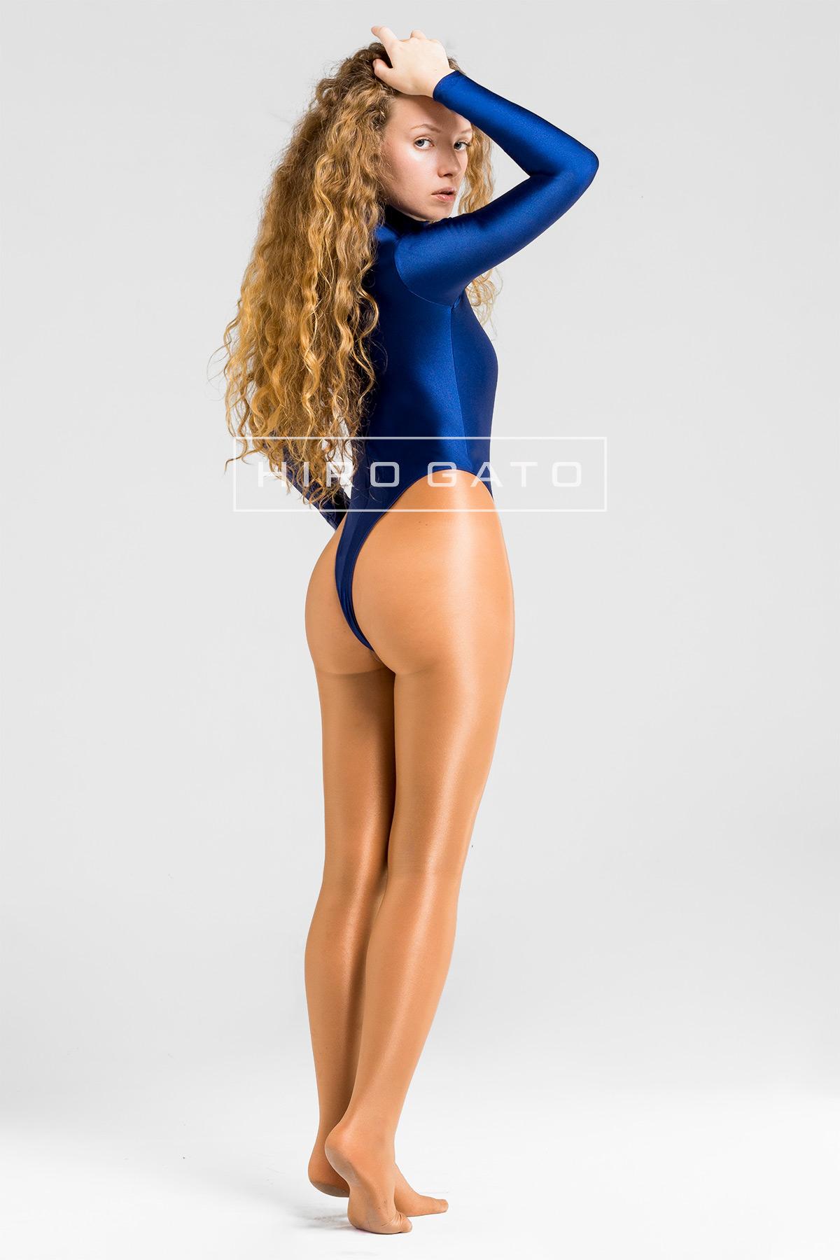 Lycra Gymnastikanzug Marineblau Hoch Geschnitten Shiny Spandex