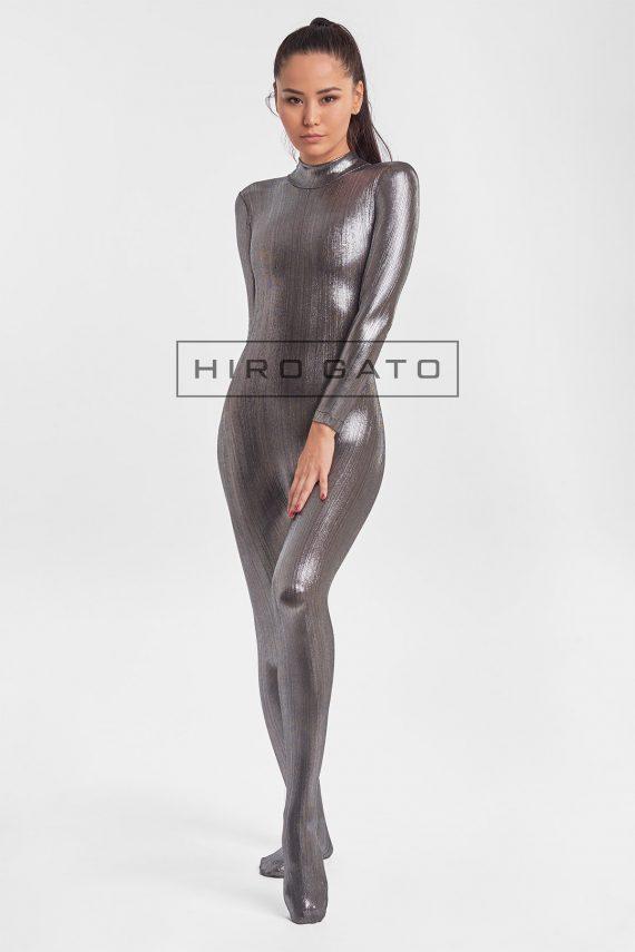 Premium Shiny Spandex Lycra Zentcai Catsuit Ganzanzug Titanium