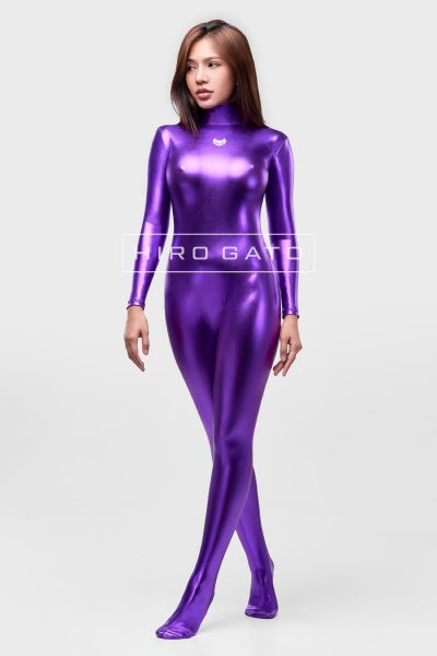 Shiny Metallic Spandex Catsuit Purple