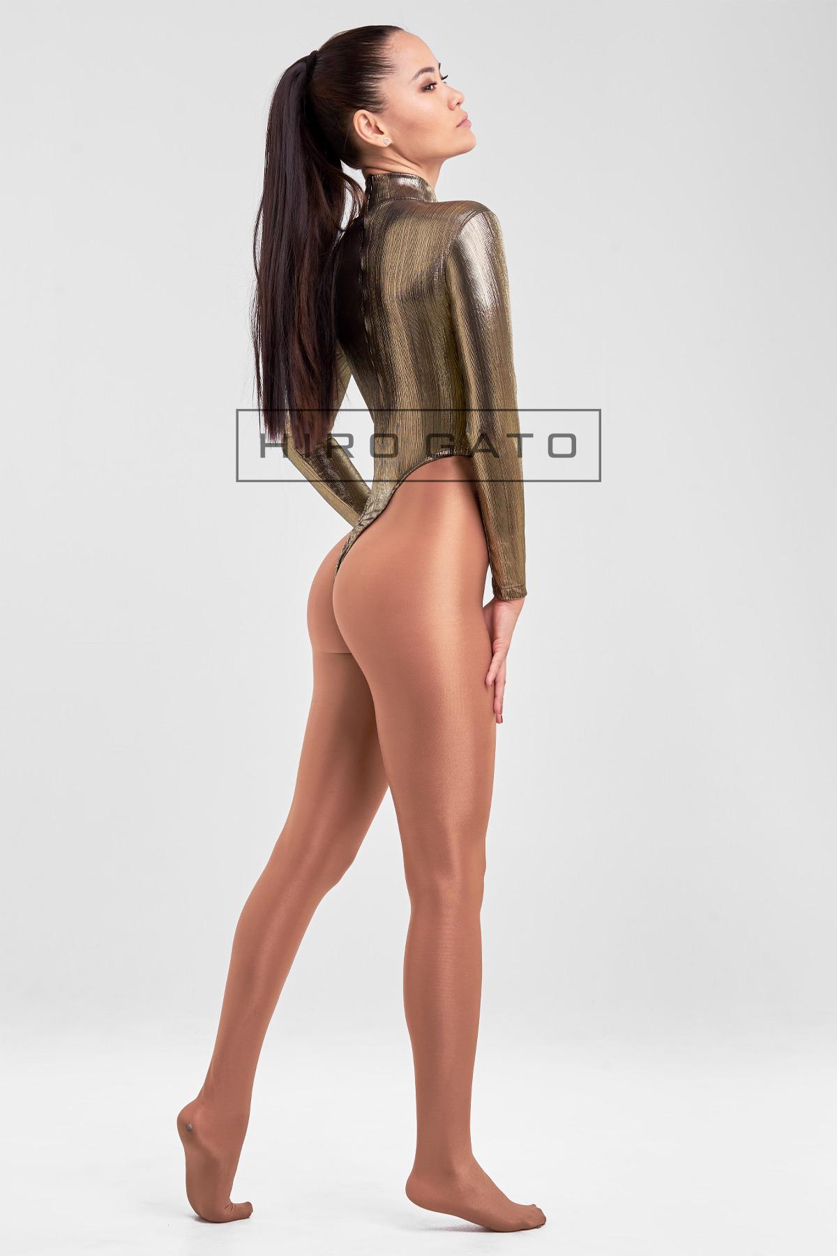 Gymnastikanzug Hoch Geschnitten Shiny Spandex Lycra Body Gold