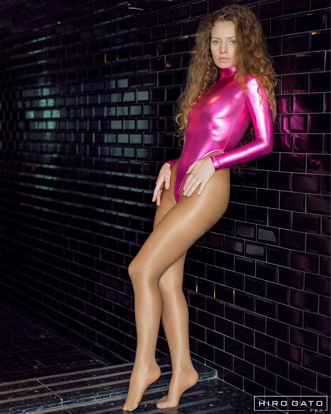 Shiny Metallic High Leg Leotard Pink