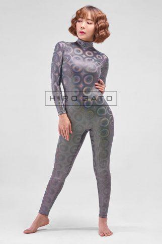 Zentai Catsuit Lycra Spandex Disco Bubbles Ganzanzug Silber