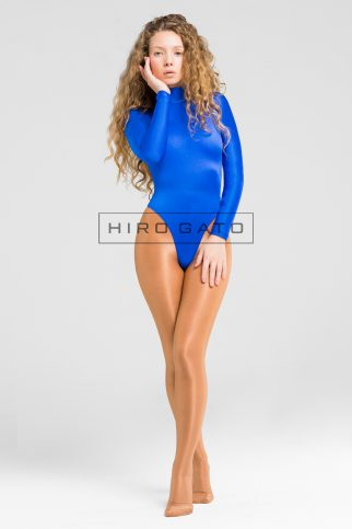 Spandex Leotard Blue High Leg Shiny Lycra