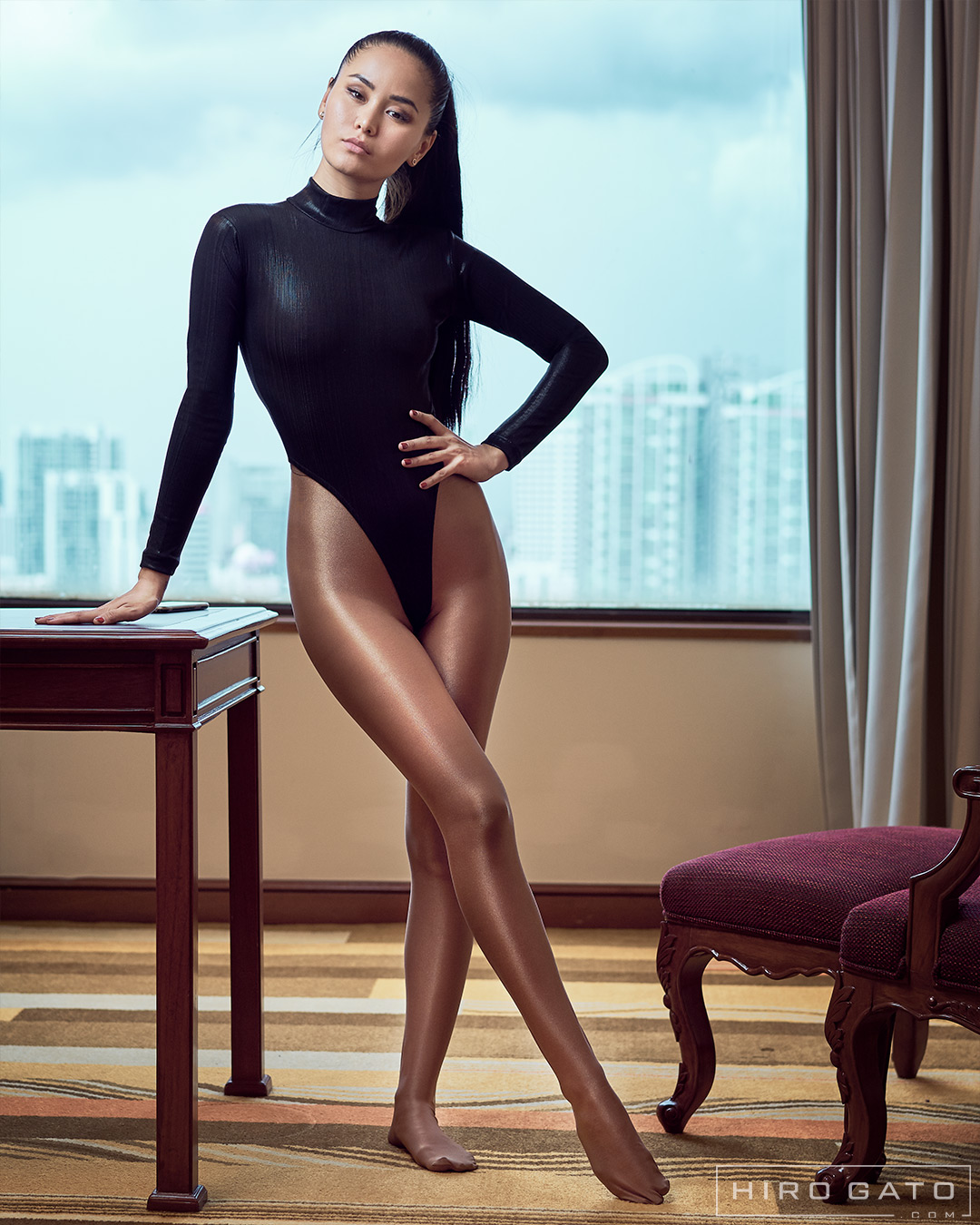 High Leg Premium Metallic Leotard Black