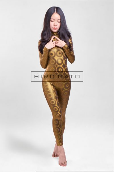 Shiny Spandex Disco Bubbles Hologram Zentai Catsuit Gold