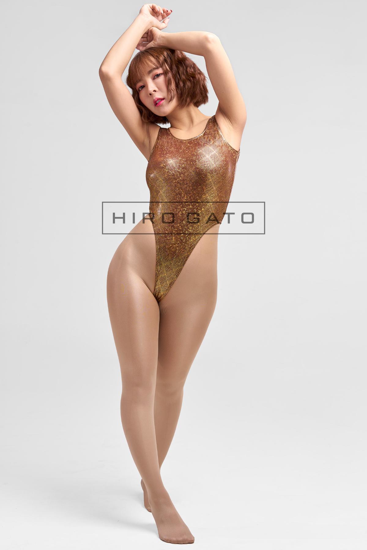 Shiny Disco Diamond Hologram Leotard Gold High Leg Spandex Lycra Body Swimsuit