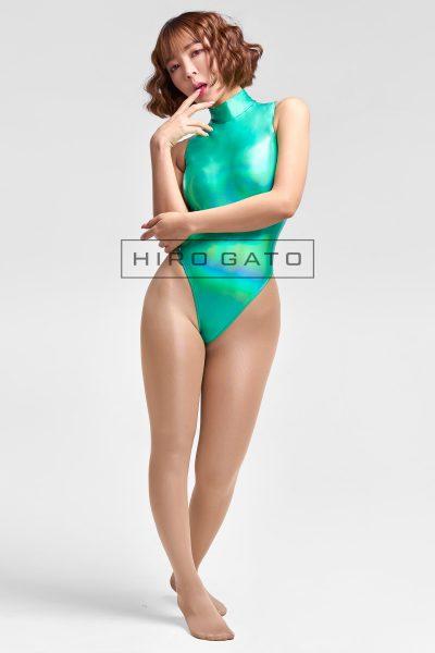 Shiny Metallic Hologram Leotard Green High Leg Spandex Lycra Body Swimsuit