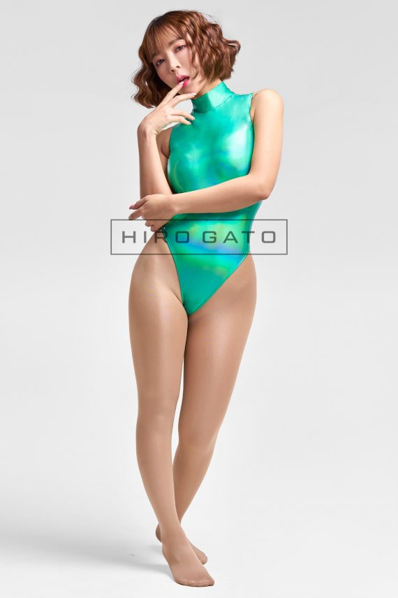 Shiny Metallic Hologram Leotard Green High Leg Spandex Lycra Body Swimsuit