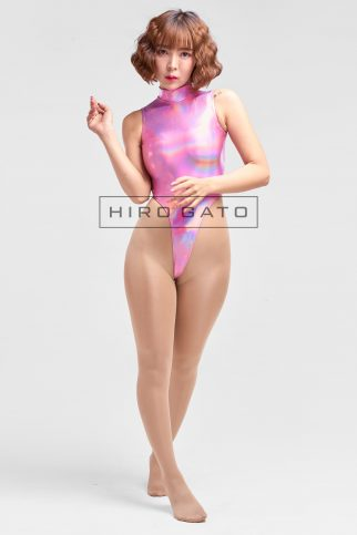 Shiny Metallic Hologram Leotard Pink High Leg Spandex Lycra Body Swimsuit