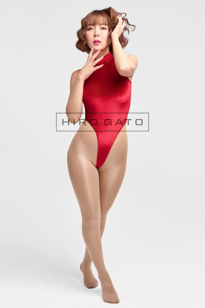 Shiny Velvet Leotard Red