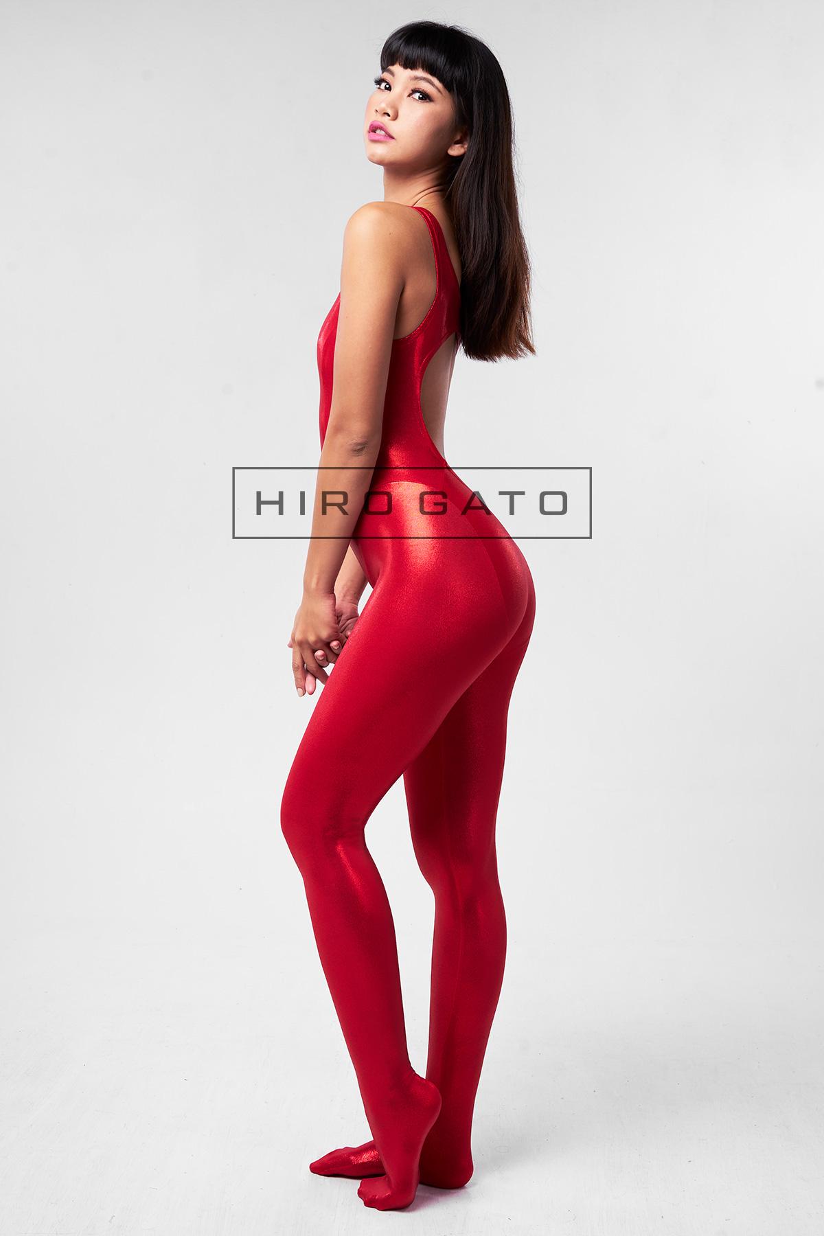 Metallic Lycra Unitard Red