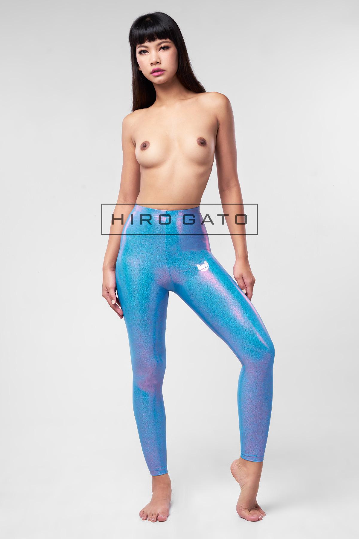 Metallic Lycra leggings Skyblue
