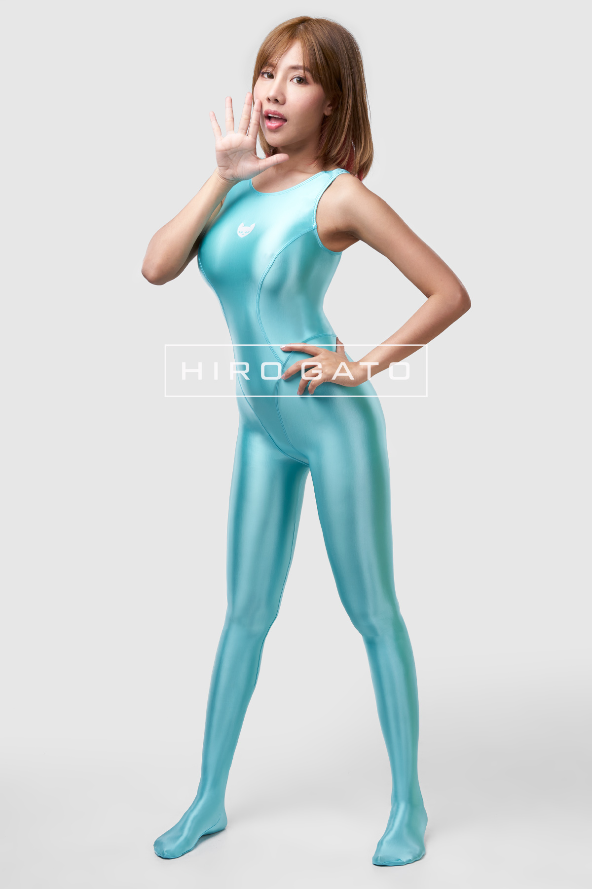 Satin Lycra Unitard Turquoise